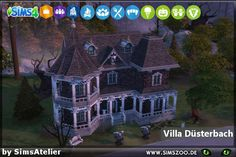 Houses and Lots: Gloom house by SimsAtelier from Blackys Sims 4 Zoo Vampire House, Sims 4 House Plans, Casas The Sims 4, Villa, Sims Four, Sims 4 Build, Witch House, The Sims4, Gothic House