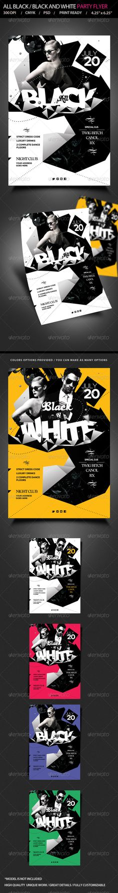 All Black / Black and White Party Flyer — Photoshop PSD #suit and tie #nightclub • Available here → https://graphicriver.net/item/all-black-black-and-white-party-flyer/5157776?ref=pxcr