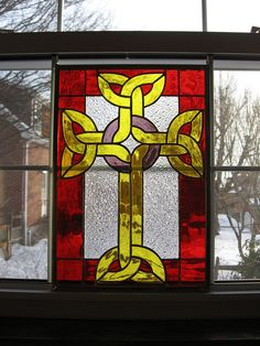 Celtic Cross Stained Glass Panel by StainedGlassYourWay on Etsy, $150.00