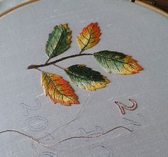 Sew in Love: Autumn Leaves Wedding Pillow - Numbering and Metallic Leaf Flecks Embroidery Leaf, Hand Embroidery Flowers, Silk Ribbon Embroidery, Hand Embroidery Patterns, Cross Stitch Embroidery, Beaded Flowers Patterns, Leaf Projects, Brazilian Embroidery, Thread Painting