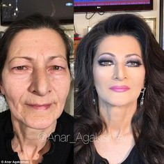 Before and after: His work makes women look decades younger (left and right) as he uses clever contouring and make up tricks