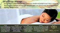 How much do you actually know about deep tissue massage? Deep tissue massage is similar to Swedish massage, but with the deeper pressure is beneficial in releasing chronic #muscles #tension. The focus is on the deeper layers of muscle tissue, tendons and fascia (The protective layer surrounding muscles, bones and joints).Deep tissue massage helps to relieve stress, hormone level, heart rate & blood pressure. More details call us. #ladies #girl #spa #offer #hair #salon #beauty #massage…