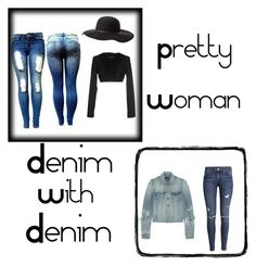 """""""Pretty Woman With Denim"""" by cetergrizlacy ❤ liked on Polyvore featuring мода, GUESS by Marciano, Charlotte Russe, Yves Saint Laurent и H&M"""