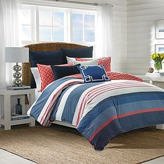 Nautica® Hawes Full/Queen Duvet Cover Set in Navy/Coral
