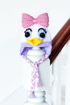 Daisy Duck Inspired Baby Hat Crochet Pattern via Hopeful Honey