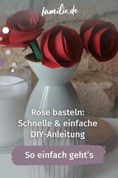 Ihr möchtet zum Valentinstag, Geburtstag, Mutter- oder Vatertag eine Rose basteln? Unsere Schritt-für-Schritt-Anleitung eignet sich auch für alle, die beim Basteln sonst nicht so viel Geschick haben – versprochen! Diy Presents, Diy, Christmas Is Coming
