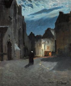 Town by moonlight, Frits Thaulow. Norwegian (1847 - 1906)
