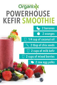 SMOOTHIE RECIPE: Look at this great smoothie recipe! We love a good smoothie. For another great use for chia seeds click the picture above. || chia seeds | smoothies  | smoothie recipe | kefir | powerhouse | healthy eating ||