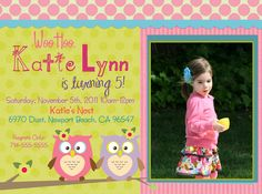 owl birthday party Invitation with or Without by ScrapbookStyle, $14.00