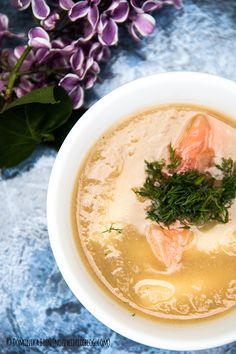 Cream soup of asparagus with smoked salmon and dill
