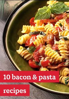 10 Bacon and Pasta Recipes — Bacon teams up with pasta in recipes that will bring the family to the dinner table in no time flat. Whether it's with cheese, chicken or vegetables, bacon makes every dish more delicious.