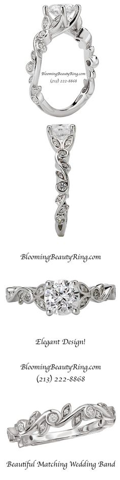 This engagement ring with matching wedding band is so pretty! BloomingBeautyRing.com (213) 222-8868