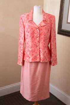 Le Suit Light Pink Coral Floral Skirt Suit Set Blazer Jacket Size 10 Office #LeSuit #SkirtSuit $34.99 + $6.83