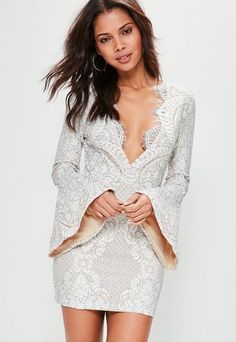 Petite Nude Lace Frill Sleeve Bodycon Dress | #Chic Only #Glamour Always