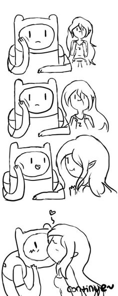 Finnceline no color kiss Adventure Time Marceline, Adventure Time Finn, Time Cartoon, Cartoon Gifs, Eddsworld Comics, Cute Comics, Finn And Marceline, Pendleton Ward, Sans X Frisk Comic