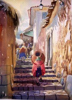 Calle Resbalosa                                                                                                                                                                                 Más Watercolor City, Watercolour Painting, Peruvian Art, Caribbean Art, Mexico Art, Fabric Painting, Landscape Art, South America, Pastel