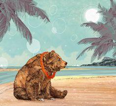 Beach Bear // A5 print 5x8 by SandraDieckmann on Etsy