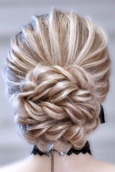 Vintage Wedding Hair wedding updos with braids textured low bun on blonde hair tinoshair_tino - Updo hairstyles for brides look so pretty and graceful. Check out wedding updos with braids in our gallery and be inspired! Box Braids Hairstyles, Loose Hairstyles, Bride Hairstyles, Updos With Braids, Curly Haircuts, Medium Long Hair, Medium Hair Styles, Curly Hair Styles, Updos For Curly Hair