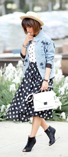 Polka Dot Top and Skirt with denim Blazer