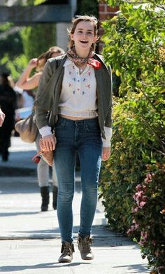 Emma in London a few days ago. (Wearing Comic Relief silk scarf from Liberty's,…