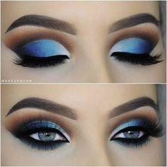 Blue Eye Make-up für blaue Augen Maquillaje de ojos azules para ojos azules # para Makeup Eye Looks, Beautiful Eye Makeup, Eye Makeup Art, Blue Eye Makeup, Smokey Eye Makeup, Cute Makeup, Hooded Eye Makeup, Skin Makeup, Makeup Tips