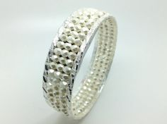 Fitbit Flex Bangle Bracelet - Silver and pearly white bangle stores Fitbit flex