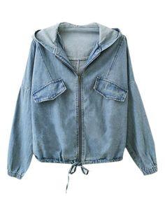 Hooded Denim Coat with Long Batwing Sleeves - Denim Jackets & Coats - Denim
