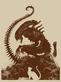 A Xenomorph Sits Atop a Pile of Skulls in New ALIEN Art — GeekTyrant