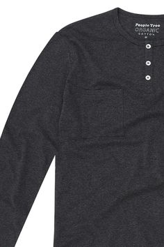 f949c246ba62 Grey melange grandad top in 100% organic certified cotton. Long sleeves  with shell buttons