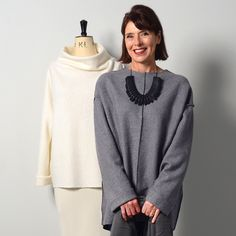 The Big Easy Top, choose between a round-necked, slim-sleeved, longer top or a more boxy style with a grown-on cowl neck.
