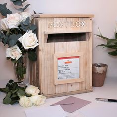 Handmade Rustic Royal Mail Wooden Post Box Personalised for Weddings HIRE ONLY £35.00 Handmade Wooden, Handmade Items, Wooden Posts, Thank You Messages, Old Pallets, Post Box, Wedding Hire, Personalised Box, Royal Mail