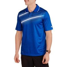 Russell Men's Printed Mesh Back Performance Active Polo, Size: XL, Blue