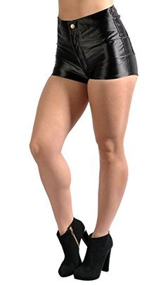 Fedi Apparel BadAssLeggings Women's High Waisted Disco Shorts Large Black