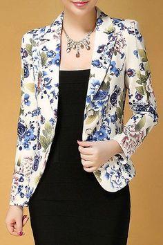 Stylish Lapel Neck Floral Print Slimming Long Sleeve Blazer For Women Blazer Outfits, Blazer Fashion, Fashion Outfits, Women's Fashion, 1920s Fashion Women, Womens Fashion Stores, Floral Blazer, Dress Sewing Patterns, Trendy Dresses