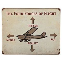 Four Forces of Flight Sign Sporty's Pilot Shop Sold by Sporty's Pilot Shop Humorous Sign Add some humor to your hangar or office with this sign. Vintage finish provides a weathered look. Four holes for mounting. Aviation Quotes, Aviation Humor, Aviation Art, Aviation Insurance, Aviation Fuel, Aviation Technology, Aviation Industry, Pilot Quotes, Private Pilot