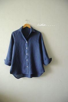 3번째 이미지 Sewing Shirts, Batik Dress, Linen Blouse, Comfortable Outfits, Blouse Designs, Shirt Blouses, Couture, Casual Shirts, Street Style