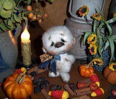 """Primitive Teddy Polar Bear 4"""" Doll Vtg Patti's Ratties Cub Artist Mini OOAK"""