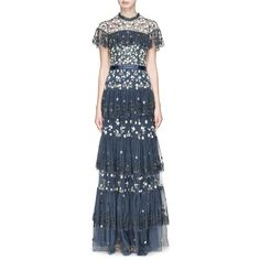 Needle & Thread Floral embellished broderie anglaise tiered ruffle... ($600) ❤ liked on Polyvore featuring dresses, gowns, blue gown, blue ball gown, blue sequin dress, blue dress and floral evening gown