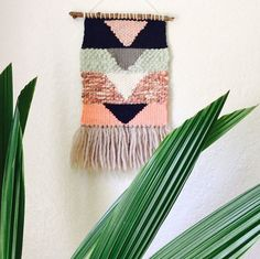 This is one of my favorite wall hangings! Full of texture and color, this piece would look great in any space. This weaving measures 16 long (including fringe) by 8.5 wide (not including the branch). All of my hanging branches were found in Minneapolis on the banks of the Mississippi river. This item is made to order. Any customization can be requested in the notes section during checkout. For example, if you would like to replace all the pinks in this weaving with shades of blue, I can…