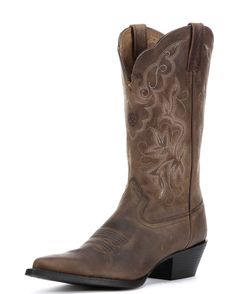 <p>Tradition with some stylish edge. The Heritage Western J Toe is a classy yet casual boot spiced up with a sharp J-toe profile. Ariat's ATS footbed offers cushion and stability, while the Duratread rubber sole holds its ground. Classic color, a catchy stitch pattern, durability, and comfort - these boots are ready to have some fun as soon as you are!</p>
