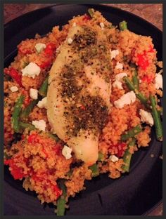 Fire-Roasted Red Pepper and Green Bean Quinoa (with Goat Cheese!)