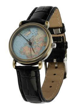 Lydc london ladies analogue watch gold uk estore 2010 free shipping and returns on topman world map watch at nordstrom a vintage map patterns the dial of a cool watch with a faux leather strap gumiabroncs Gallery