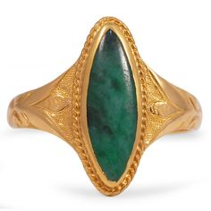 The Kiana Ring from Brilliant Earth circa 1890's An elegant and organic jade cabochon sits in a marquise shaped bezel setting in this unique Victorian-era ring, accented by floral motifs on the reverse tapered shank in yellow gold.
