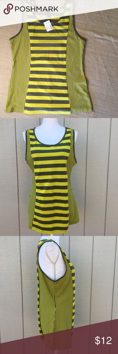 """NWT Lane Bryant Yellow & Gray Striped Tank NWT Lane Bryant Yellow & Gray Striped Tank.  Size 14/16W.  MSRP $34.  Length from top of shoulder to hem:  27"""".  Unstretched measurements – Bust: 40"""", Waist: 36"""", Bottom of top: 44"""" around.  95% cotton, 5% spandex – stretchy material.    Love it but not the price - I'm open to (reasonable) offers or consider bundling 2 or more items for an additional 15% off and combined shipping!    Check out my reviews - I only sell great quality items! Lane…"""