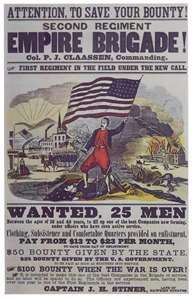 Northern Civil War recruitment poster. Pay up to $23/month.