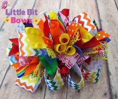 Rainbow Chevron Print Boutique Funky Bow by LittleBitBows on Etsy