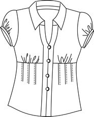 I have been looking for a pattern like this. One of my favorite shirts! Mine had a V-shaped band rather than the pleats under the bust gathers. Tunic Sewing Patterns, Sewing Blouses, Blouse Patterns, Clothing Patterns, Blouse Designs, Couture Tops, Corsage, Shirt Blouses, Blouses For Women