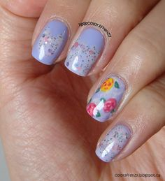 Floral Pastel Mani featuring Girly Bits Spring It On Me!