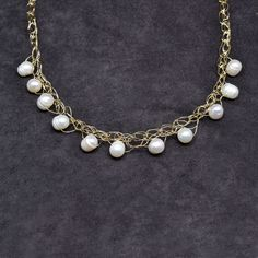 Spun Necklace with Freshwater Baroque Pearl Drops in White