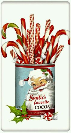 Christmas Candy Canes Can 100 Cotton Flour Sack Dish Tea Towel Mary Lake Thompson 30 x 30 *** Check this awesome product by going to the link at the image. Noel Christmas, Retro Christmas, Christmas Items, Christmas Candy, Christmas Projects, Winter Christmas, Holiday Crafts, Christmas Decorations, Candy Decorations